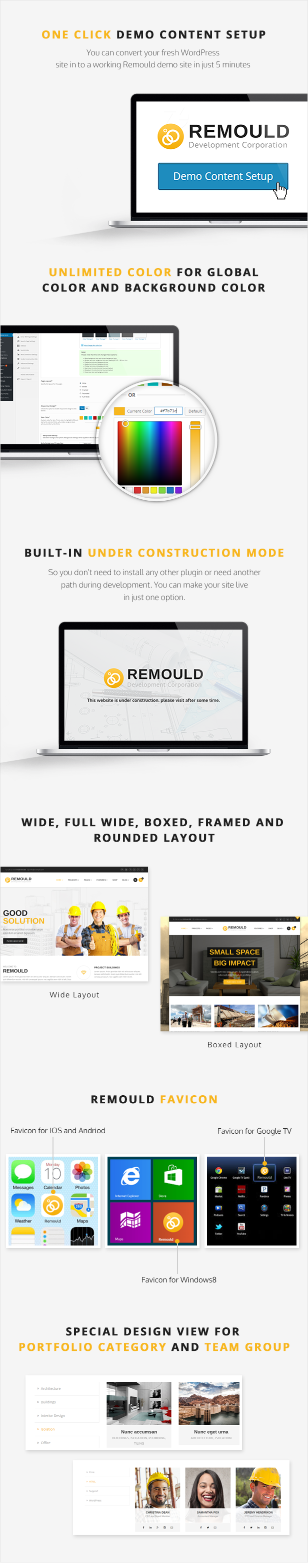 Remould WordPress Theme - One Click demo content setup and other features